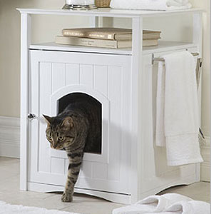 white wood dog bed or cat litter enclosure and end table & Enclosed Dog Bed / Cat Litter Box Aboutintivar.Com