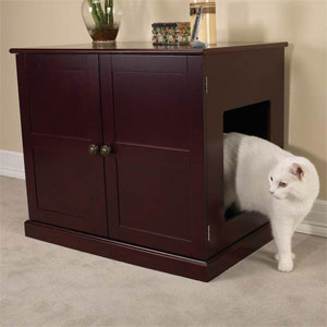 Wood cabinet - end table - nightstand conceals dog bed or cat litter box & Enclosed Dog Bed / Wood Cabinet