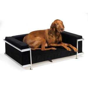 Moderno Dog Sofa Bed Shown In Ebony Microvelvet Fabric